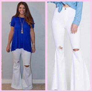 Distressed White Bell Bottom Jeans